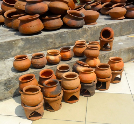 Tradiitonal clay pots for boiling milk at New Year